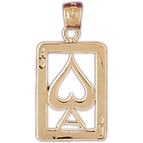 14k Yellow Gold Playing Cards, Ace of Spades Charm