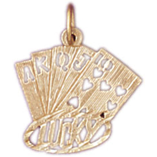 14k Yellow Gold Playing Cards, Lucky Flush Charm