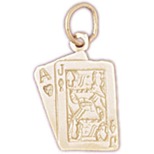 14k Yellow Gold Playing Cards, 21, Ace and Jack Charm
