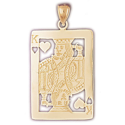14k Yellow Gold Playing Cards, King of Hearts Charm