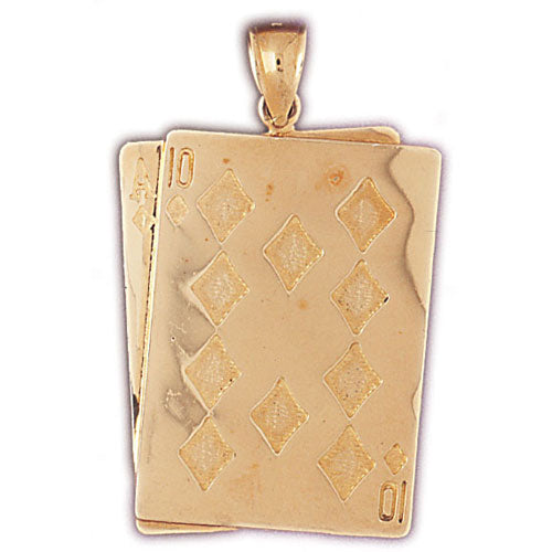 14k Yellow Gold Playing Cards, 21, Ace and Queen Charm