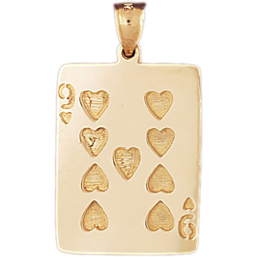 14k Yellow Gold Playing Cards, Nine of Hearts Charm