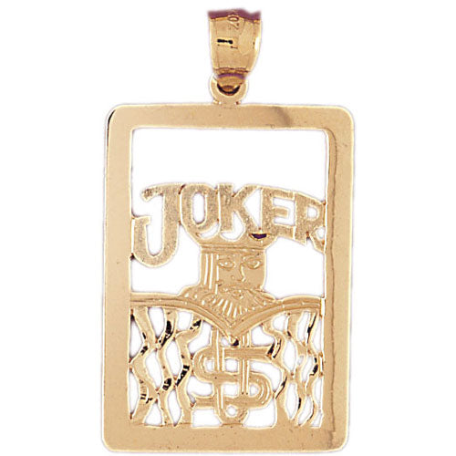 14k Yellow Gold Playing Cards, Joker Charm