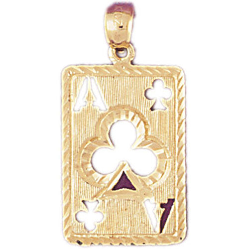 14k Yellow Gold Playing Cards, Ace of Clubs Charm