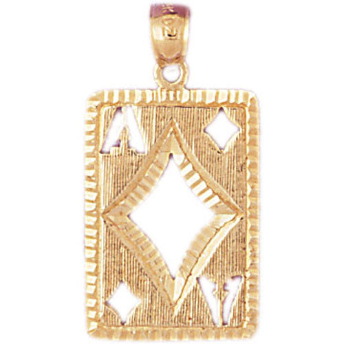 14k Yellow Gold Playing Cards, Ace of Diamonds Charm