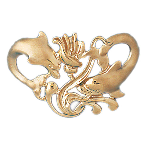 14k Yellow Gold Dolphins with Shell Charm