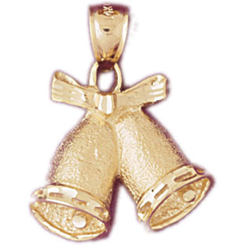 14k Yellow Gold Christmas Bells Charm