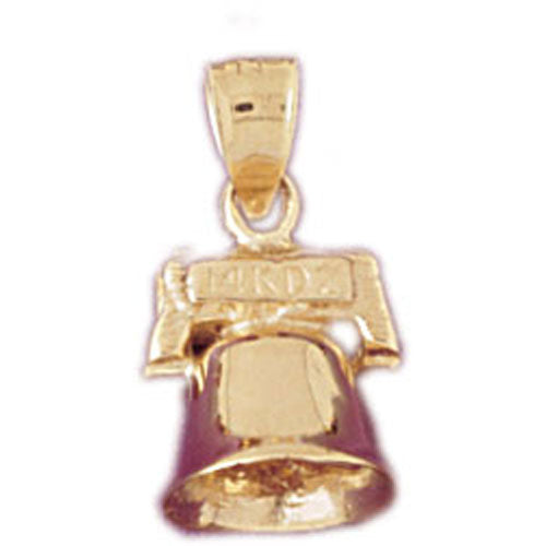 14k Yellow Gold 3-D Christmas Bell Charm