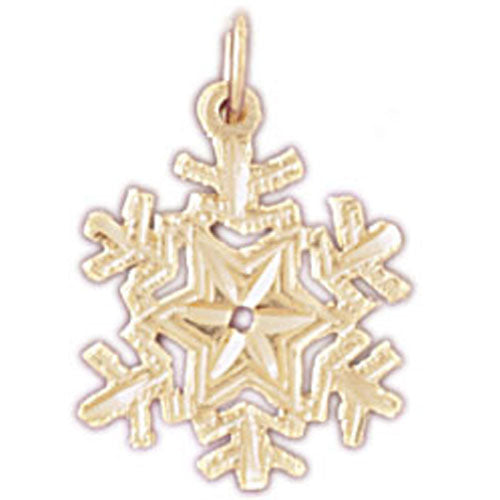 14k Yellow Gold Snow Flake Charm
