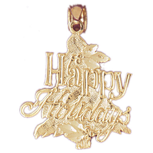 14k Yellow Gold Happy Holidays Charm