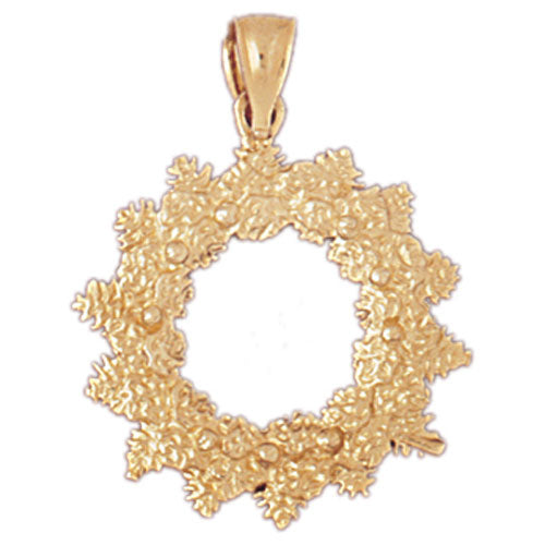 14k Yellow Gold Christmas Wreath Charm