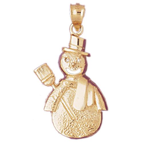 14k Yellow Gold Snow Man Charm