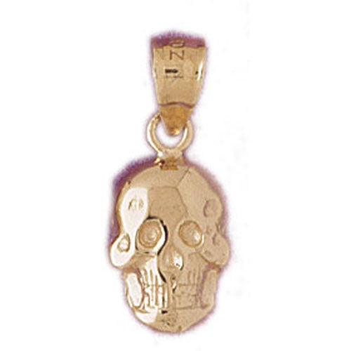 14k Yellow Gold Skull Charm