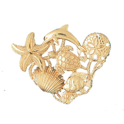14k Yellow Gold Dolphins, Starfish, Turtle, Sand Dollar, Shell and Fish Charm