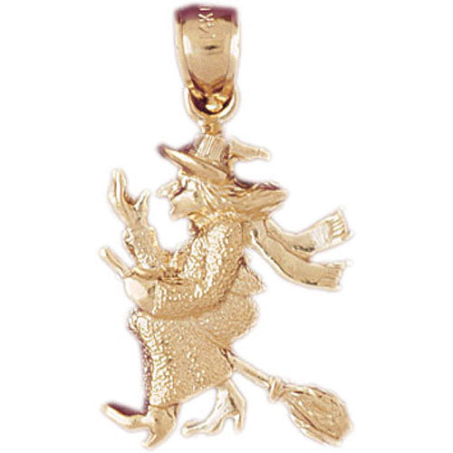 14k Yellow Gold Witch on Broom Charm