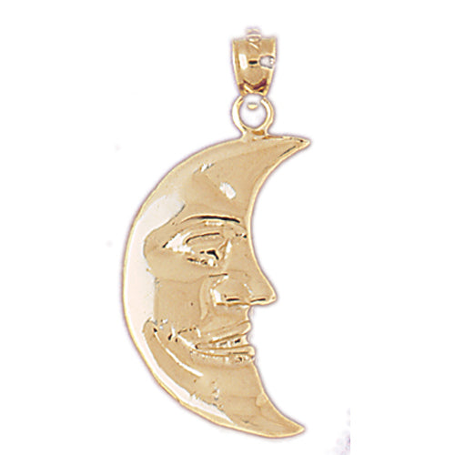 14k Yellow Gold Moon Charm