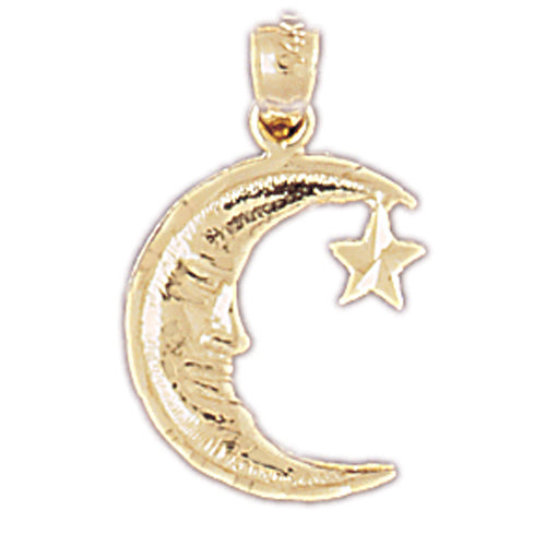 14k Yellow Gold Moon with Star Charm