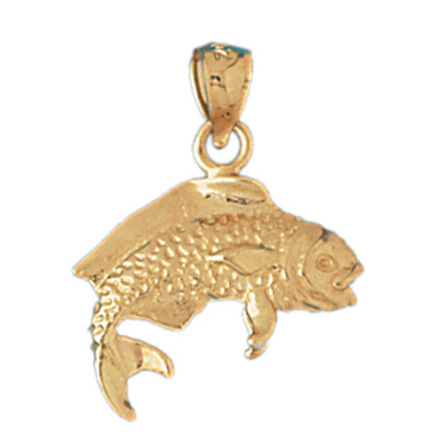 14k Yellow Gold Mahi Mahi 3-D Charm