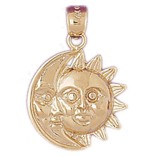 14k Yellow Gold Sun and Moon Charm