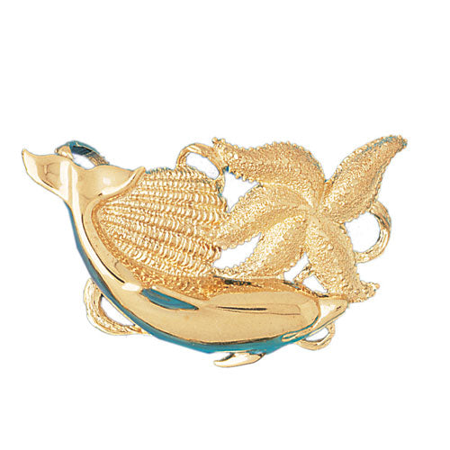 14k Yellow Gold Dolphin, Starfish, and Shell Charm