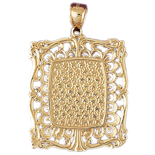 14k Yellow Gold Handcut Frame Plate Charm
