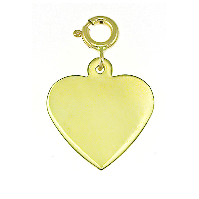 14k Yellow Gold Heart Handcut Charm