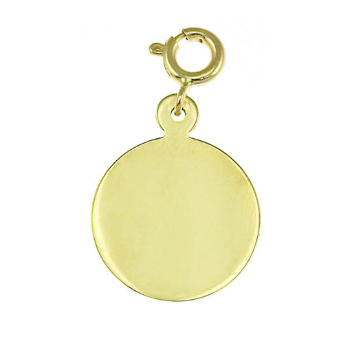 14k Yellow Gold Round Handcut Charm