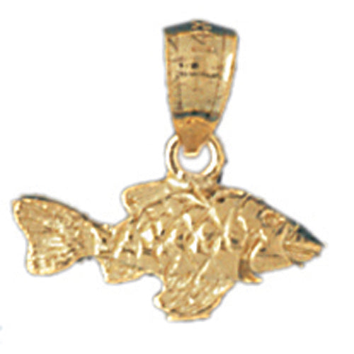 14k Yellow Gold Halibut Charm