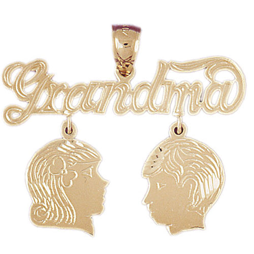 14k Yellow Gold Grandma with Son and Daughter Charm