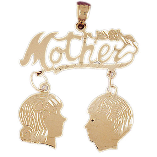 14k Yellow Gold Mother with Son and Daughter  Charm