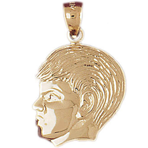 14k Yellow Gold Boy Head Charm