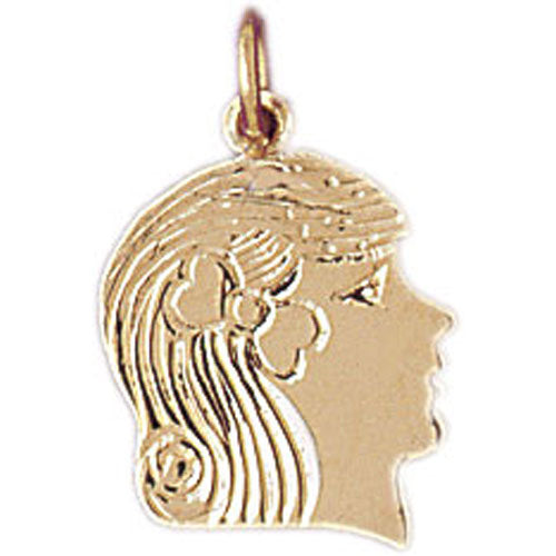 14k Yellow Gold Girl Head Charm