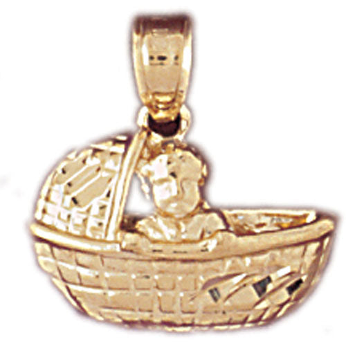 14k Yellow Gold Baby Basket Charm
