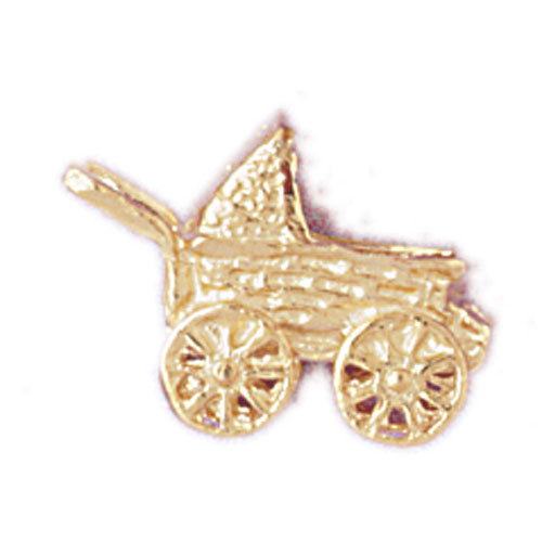 14k Yellow Gold 3-D Baby Stroller Charm