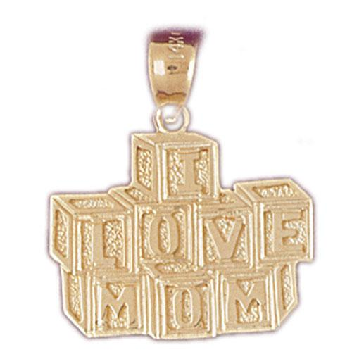 14k Yellow Gold I Love Mom Charm