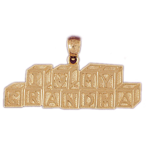 14k Yellow Gold I Love Grandma Charm