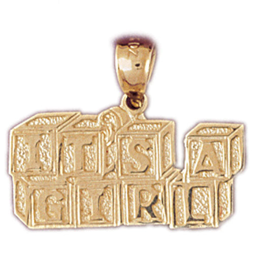 14k Yellow Gold It's a Girl Charm