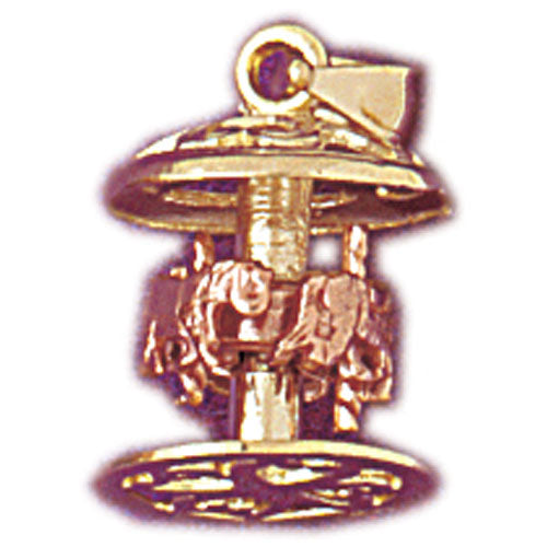 14k Yellow Gold 3-D Carousel Charm