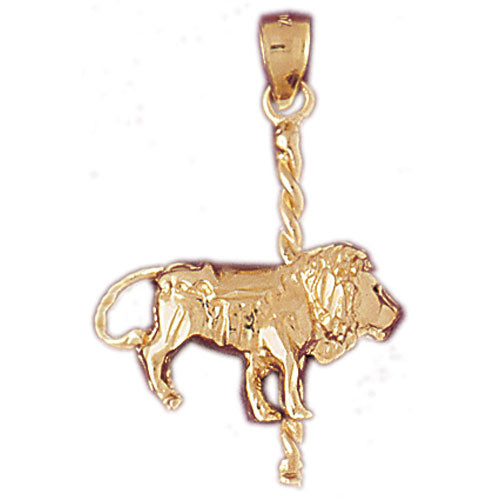 14k Yellow Gold Carousel Lion Charm