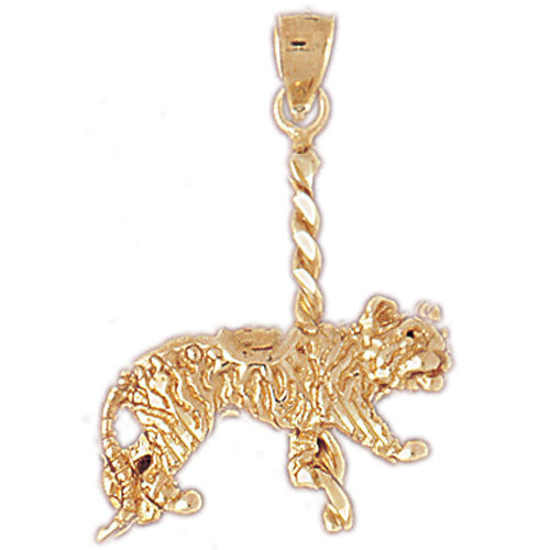 14k Yellow Gold Carousel Tiger Charm