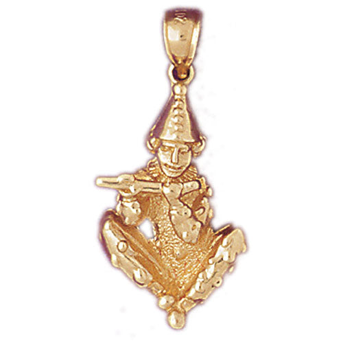 14k Yellow Gold Clown Charm