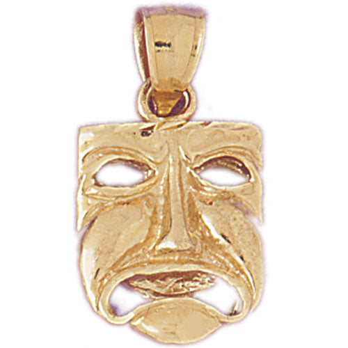 14k Yellow Gold 3-D Drama Mask, Cry Later Charm