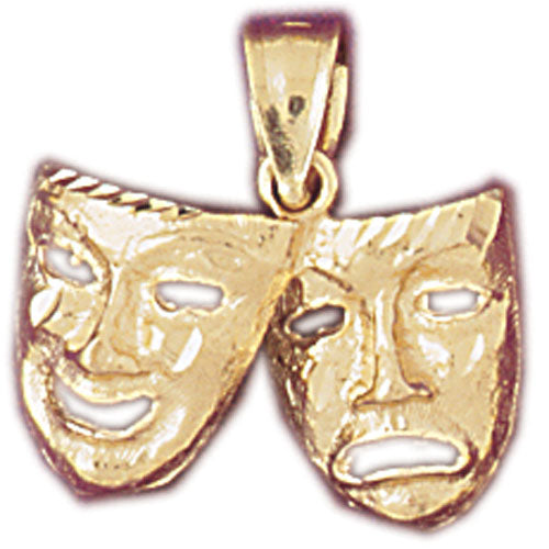 14k Yellow Gold Drama Mask, Laugh Now, Cry Later Charm