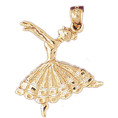 14k Yellow Gold Flamenco Dancer Charm