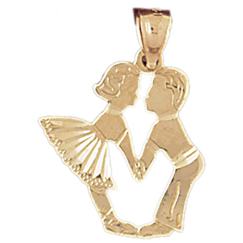 14k Yellow Gold Boy and Girl Kissing Charm