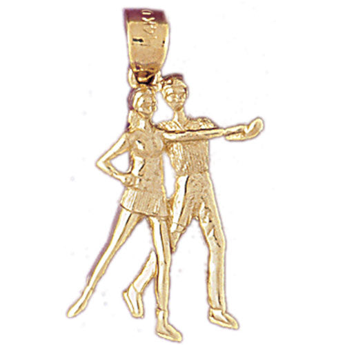14k Yellow Gold Ballroom Dancers Charm