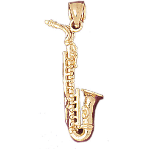 14k Yellow Gold 3-D Saxophone Charm