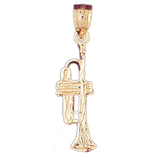 14k Yellow Gold Trumpet Charm