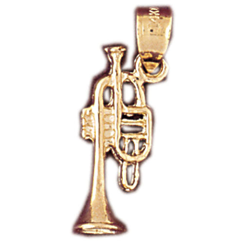 14k Yellow Gold 3-D Trumpet Charm