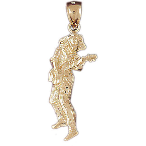 14k Yellow Gold Guitarist Charm